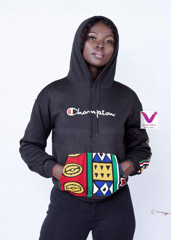 vondeeworld,african print hoodie